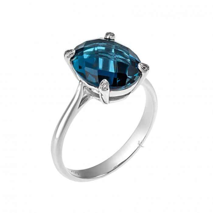 Δαχτυλίδι Λευκόχρυσος Κ18 με London Blue Topaz & Διαμάντια
