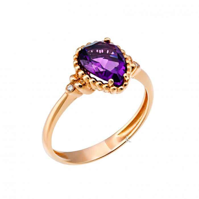 Δαχτυλίδι Ροζ Χρυσός Κ18 με Αμέθυστο & Διαμάντια