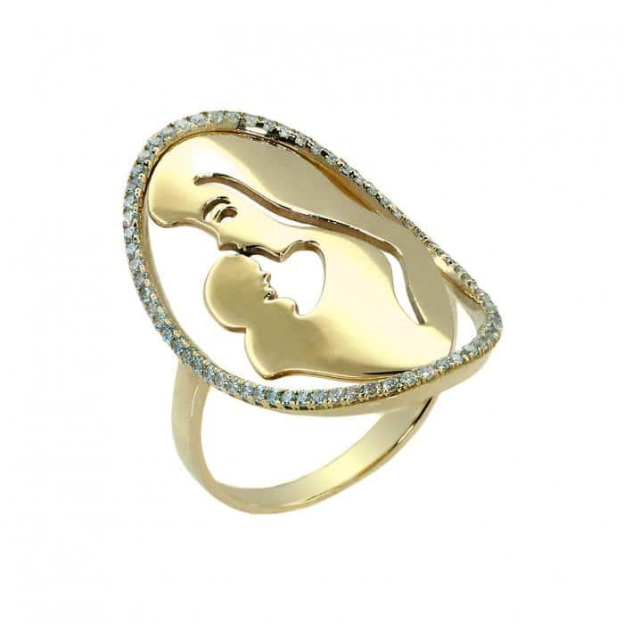 Μοντέρνο δαχτυλίδι σε οβάλ σχήμα με λουστρέ φινίρισμα, στολισμένο με λευκές πέτρες ζιργκόν.