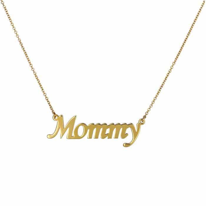 """Κολιέ """"Mommy"""" Χρυσός Κ14 με Λουστρέ Φινίρισμα"""