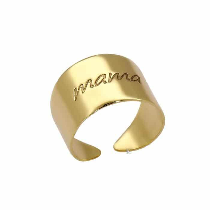Δαχτυλίδι Χρυσός Κ14 με Χαραγμένη τη λάξη Mama