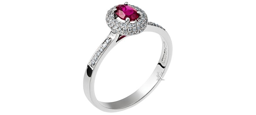 Δαχτυλίδι Λευκόχρυσος Κ18 με Ρουμπίνι & Διαμάντια
