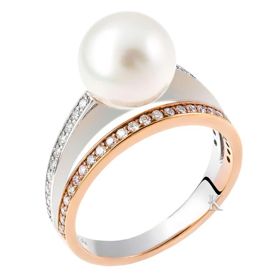 Δαχτυλίδι Λευκόχρυσος & Ροζ Χρυσός Κ18 με Διαμάντια & Μαργαριτάρι
