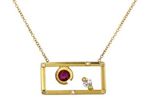 Κολιέ Χρυσός Κ18 με Διαμάντια & Ρουμπίνι & Λουστρέ Φινίρισμα