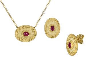 Σετ Χειροποίητο Βυζαντινό Χρυσός Κ18 με Ρουμπίνι