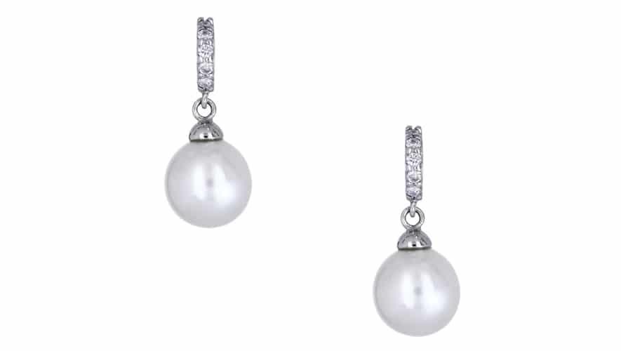 Σκουλαρίκια Λευκόχρυσος Κ18 με Μαργαριτάρι & Διαμάντια