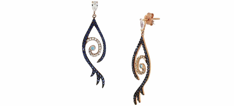 Σκουλαρίκια Κρεμαστά από Ροζ Χρυσό Κ14 με Ζιργκόν (23315)
