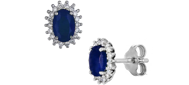 Καρφωτά Σκουλαρίκια από Λευκόχρυσο Κ18 με Ζαφείρι & Διαμάντια (22767)