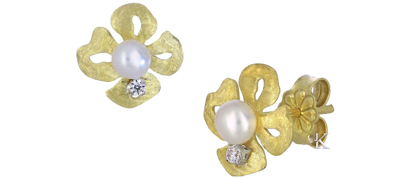 Καρφωτά Σκουλαρίκια από Χρυσό Κ14 με Μαργαριτάρια & Ζιργκόν (28199)