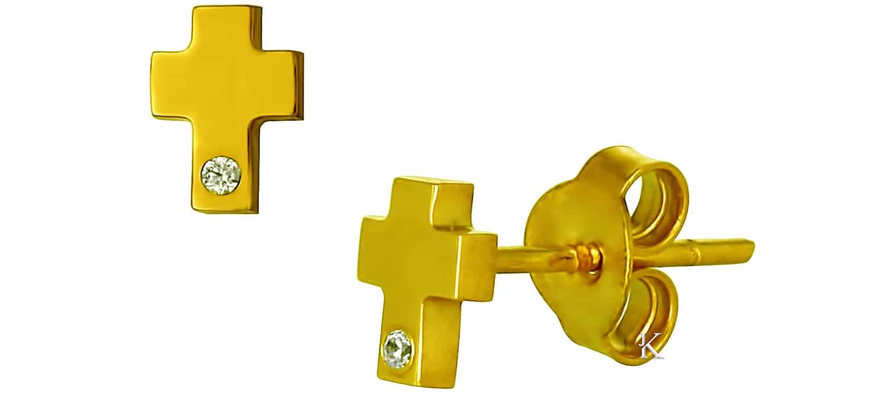 Σκουλαρίκια Καρφωτά Χρυσά (Κ14) με Ζιργκόν (22346)