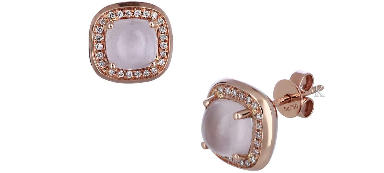 Σκουλαρίκια Καρφωτά από Ροζ Χρυσό Κ18 με Rose Quartz & Διαμάντια (31977)