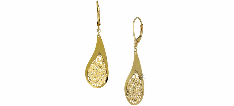 Σκουλαρίκια Boho από Χρυσό Κ14 (35356)