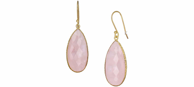 Σκουλαρίκια Boho από Ασήμι 925° με Ροζ Quartz (35391)