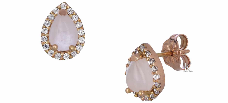 Σκουλαρίκια Δάκρυ από Ροζ Χρυσό Κ14 με Rose Quartz & Ζιργκόν (35440)