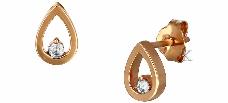 Σκουλαρίκια Δάκρυ από Ροζ Χρυσό Κ14 με Διαμάντια (40689)