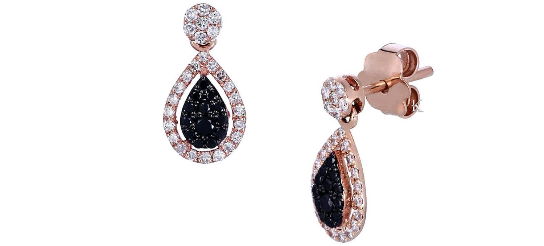 Σκουλαρίκια Δάκρυ από Ροζ Χρυσό Κ18 με Λευκά & Μαύρα Διαμάντια (26574)