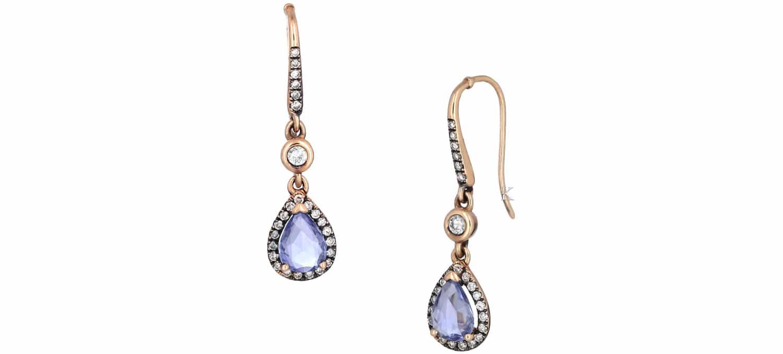 Σκουλαρίκια Δάκρυ από Ροζ Χρυσό Κ18 με Ζαφείρια & Διαμάντια (34592)