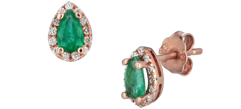 Σκουλαρίκια Δάκρυ από Ροζ Χρυσό Κ18 με Σμαράγδια & Διαμάντια (34749)