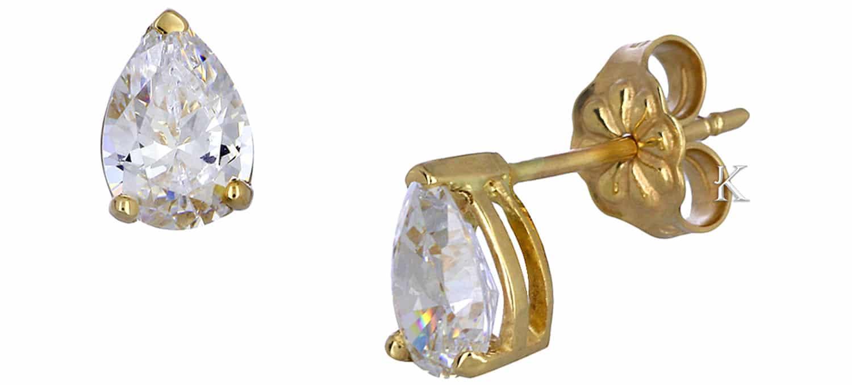 Σκουλαρίκια Δάκρυ από Χρυσό Κ14 με Ζιργκόν (35444)