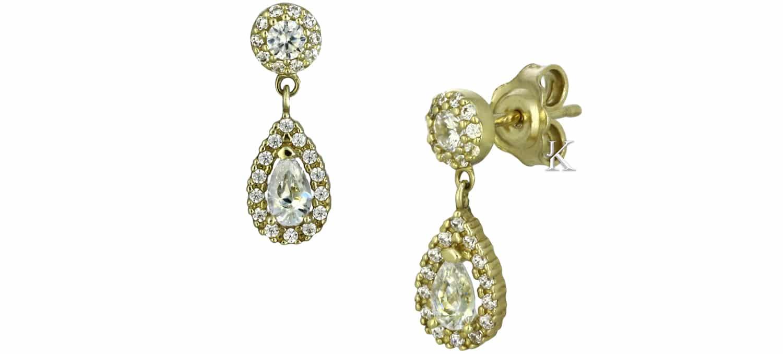 Σκουλαρίκια Δάκρυ από Χρυσό Κ14 με Ζιργκόν (23895)