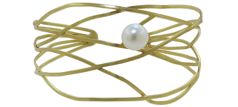 Βραχιόλι Χειροπέδα από Χειροποίητο Χρυσό Κ14 με Μαργαριτάρι (7251)
