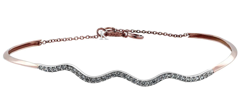 Βραχιόλι Χειροπέδα από Ροζ Χρυσό & Λευκόχρυσο Κ14 με Ζιργκόν (26901)