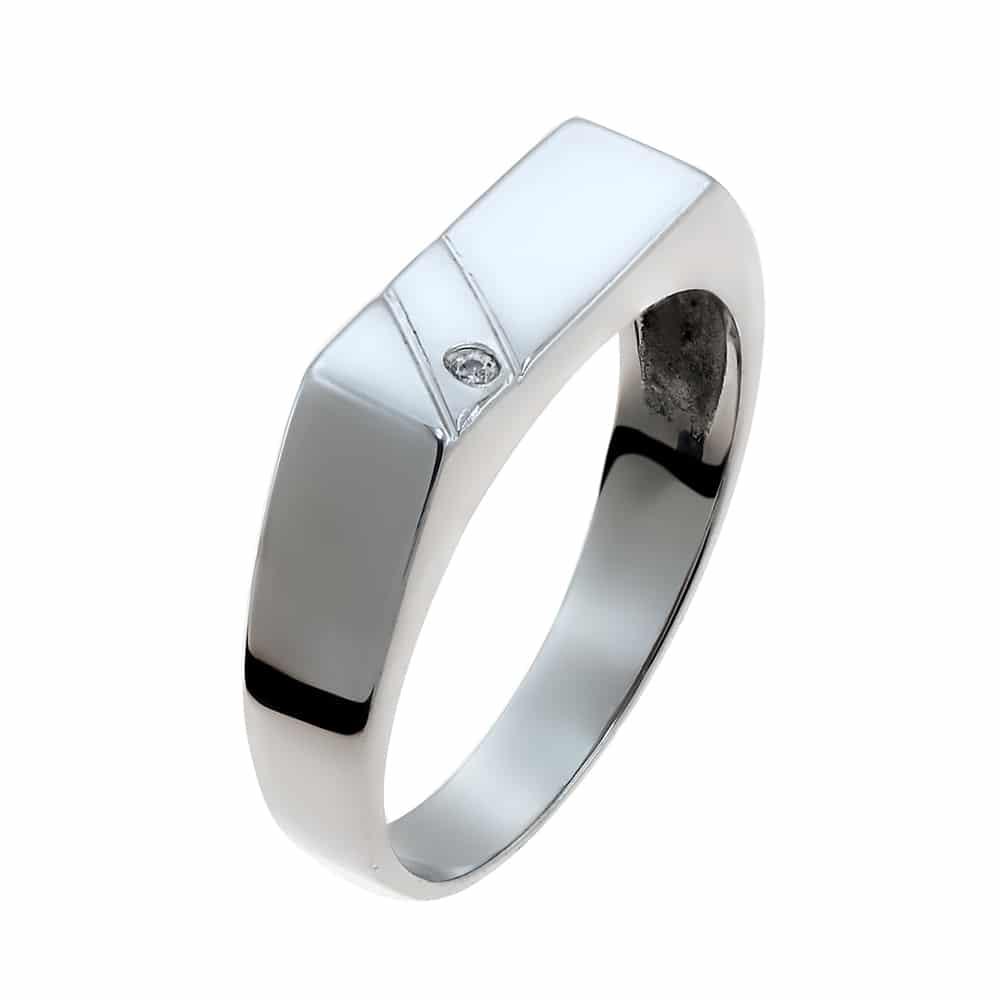 Λευκόχρυσο δαχτυλίδι Κ9 με ζιργκόν σε λιτή γραμμή σχεδίασης