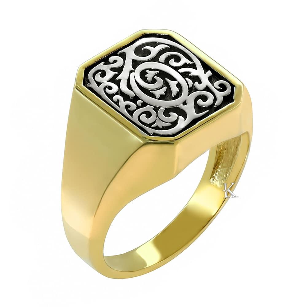 Χρυσό & λευκόχρυσο δαχτυλίδι Κ14 με μαύρο πλατίνωμα