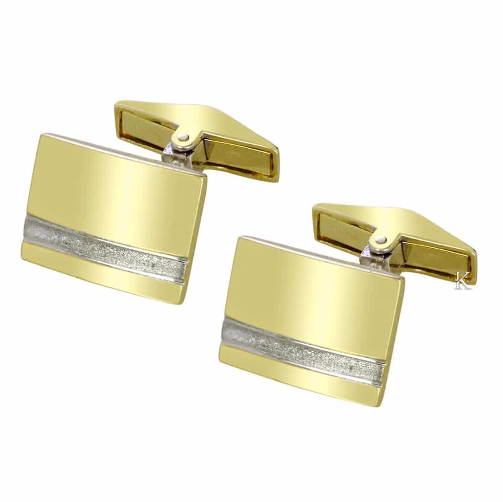 Μανικετόκουμπα ασήμι 925° & χρυσός Κ14